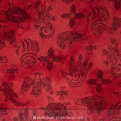 Native Spirit - Native Symbols Red Yardage