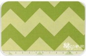 Large Cotton Chevrons - Tone on Tone Green Yardage